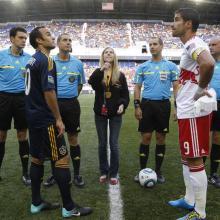 Landon Donovan, Captain LA Galaxy, and Juan Pablo, Captain, NY Red Bulls