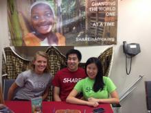 Tiffany Chen, Sophie Kieftenbeld, Robert Ju at Teen Volunteer Fair for girls' education